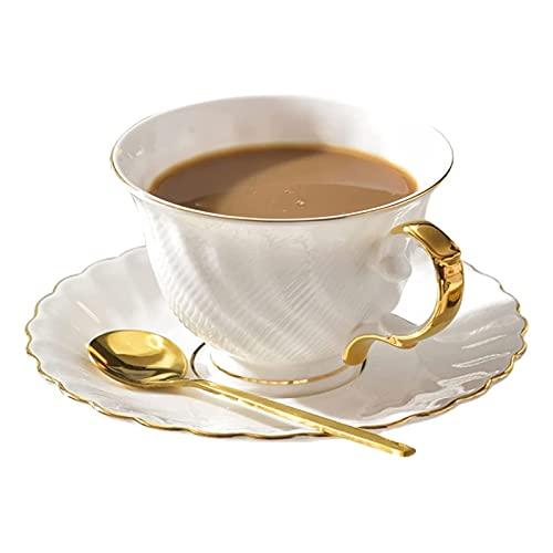 WPJ Tazas Tazas de té o café 8.5 onzas Tazas de café y platillos de café con cucharas de Espresso Copas de Capuchino de Porcelana para Latte, café, té, Moca (Blanco) Tazas de café