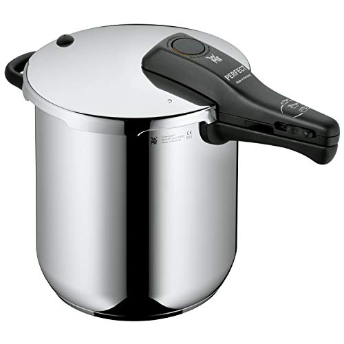 WMF Perfect Schnellkochtopf Induktion 8,5l, Dampfkochtopf, Cromargan Edelstahl poliert, 2 Kochstufen, Einhand-Kochstufenregler