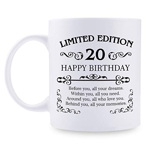 20th Birthday Gifts for Women Men - 11 oz Coffee Mug - 20 Year Old Present Ideas for Son, Daughter, Sister, Brother, Friend, Colleague, Classmate (20th Birthday Gift)