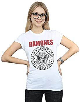 Ramones Women s Red Text Seal T-Shirt White Small