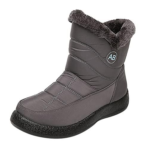 YWLINK Botas De Nieve Mujer Botines De Invierno Forradas Con Pelo Botas De Nieve Antideslizante Zapatos Outdoor Ligero Formal Calzado Que Caminan Botas De Algodon Botas De Felpa (Gris, 41)