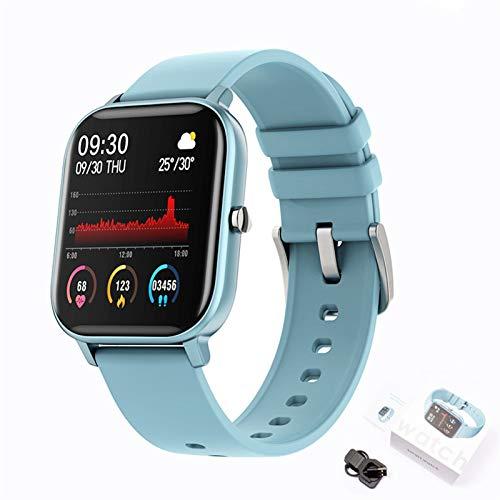 YDL Nueva Pantalla De Color P8 Smart Watch Hombres Mujeres Full Touch Fitness Tracker Presión Arterial Reloj Inteligente Mujer Smartwatch (Color : Blue)