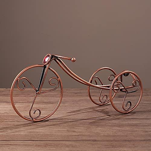 Dingyue Soporte de botella de vino en forma de triciclo con 1 botella de vino creatividad, hierro dorado, perfecto para encimera de cocina