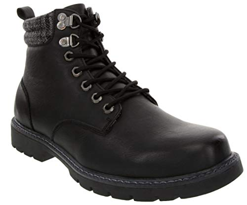 LONDON FOG Mens Chiswick Cold Weather Memory Foam Snow Boot Black 12