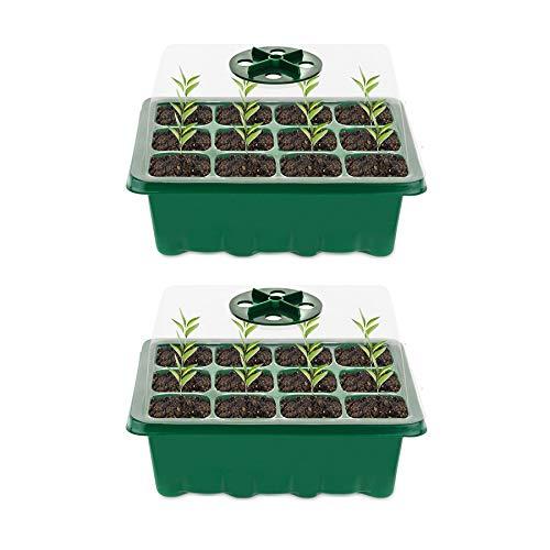 Minstores Mini Gewächshaus - für bis zu 12 Pflanzen Je Zimmergewächshaus, Zimmergewächshaus Anzuchtkasten Mini Gewächshaus ,Grün/Transparent (2 Stücke)