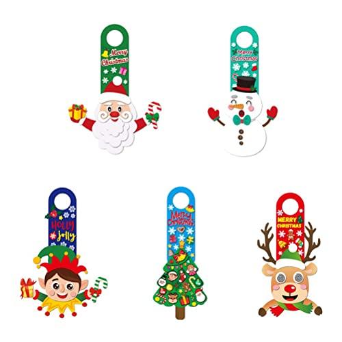 Toddmomy5 pcss Kerstdeur Opknoping Stickers Cartoon DIY Decoratieve Stickers voor kinderen