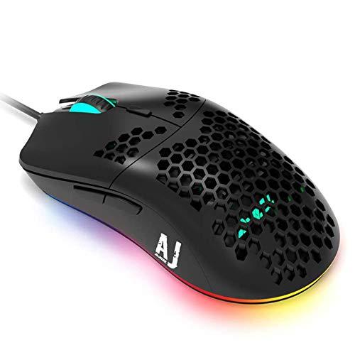 Ajazz AJ390 RGB バックライト ゲーミングマウス 69g超軽量 中空彫刻デザイン 7色LEDライト 高精度ターゲティング 6段調節可能 最大16000DPI PUBG/荒野行動対応 (ブラック)