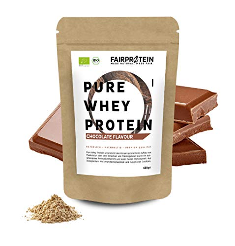 Fairprotein Protein Powder Whey Chocolate Organic Without Soy I 650g Whey Protein Powder for Organic Protein-Shakes - Natural Protein for Baking Without Sugar