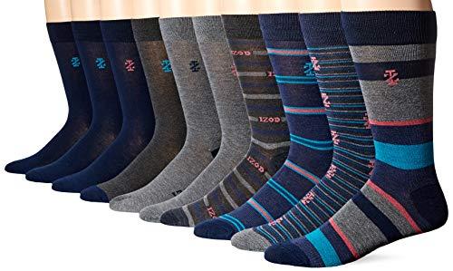 Izod Men's 10PK Dress Socks, Navy/Gray - Fashion, 10-13