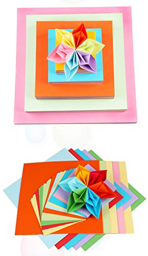 Lustre 100 hojas de papel de origami 15 x 15 cm en 10 colores diferentes papel crepé mano frotar rosa origami