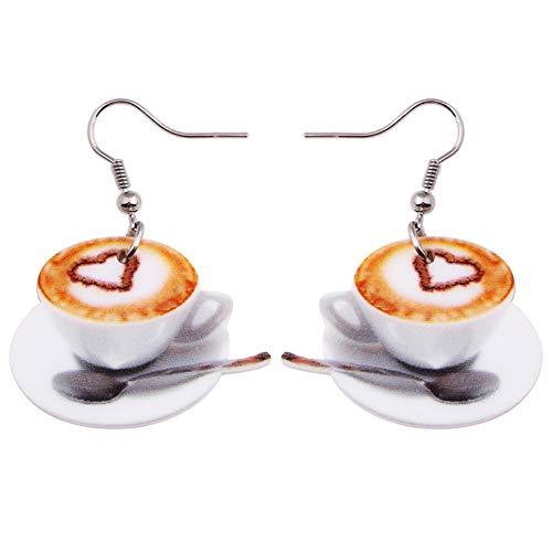 SDFGNH Leichte Flache Tropfen Baumeln Großes Herz Kaffeetasse Essen Ohrringe Frauen-Dame Mädchen Zubehör Acryl Druck Schmuck
