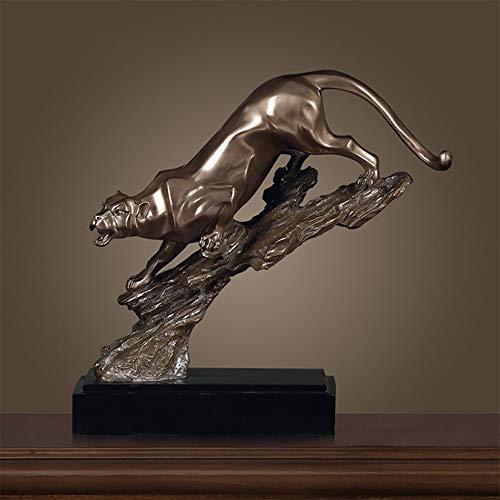 Kaper Go Decoración creativa de resina de leopardo chapada en cobre para sala de estar, vino, estantería para manualidades, 38 x 15 x 41 cm