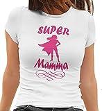 MAM0011 T-Shirt Maglietta Donna Super Mamma 3 Idea Regalo Festa della Mamma (L, Bianco)