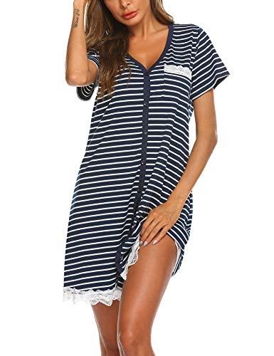 Ekouaer Womens Nightdress Cotton Sleepwear Short Nightgowns Knit Sleepshirts