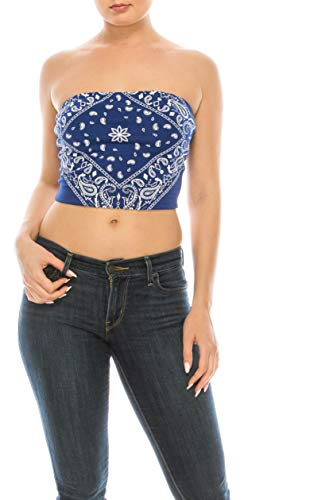 DOUBLEFIVE Womens Sexy Bandana Sleeveless Stretchy Solid Strapless Cotton Crop Tube Top (Medium, Royal Blue)