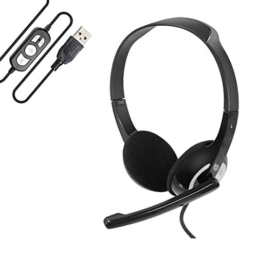 BigPassport USB Headphone Headset with Mic & Inbuilt Sound Controls for Computer & Laptop | Noise Cancellation with Auto Voice Enhancement | Skype Call & Zoom Call Headphone (Model: Pro-Boom 189)