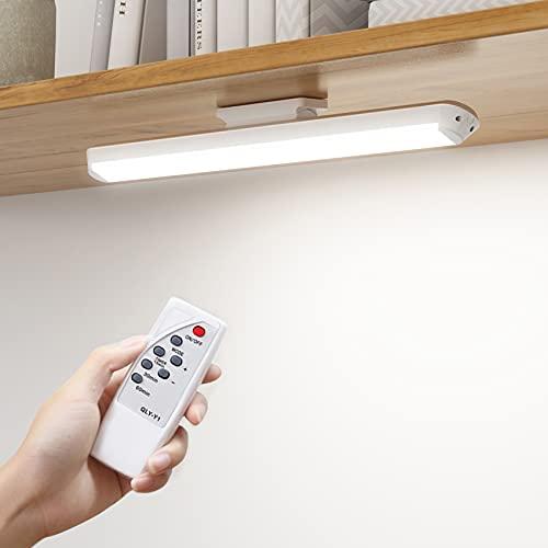 SOAIY [2 PCS] Luz bajo mueble cocina inalámbrica con modos 5 Colores, led cocina bajo mueble recargable 2800 mAh con control remoto, Temporizador 15/30 / 60 minutos 80 ° Ajustable