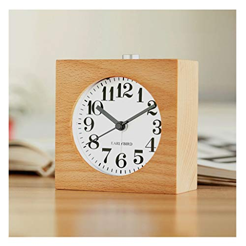 Yxx max *Bracket clock Desk Clock Small Square Rectangle Silent Table Snooze Wood Alarm Clock With Nightlight Table Clocks For Living Room Decor Solid Wood Quartz Home outdoor