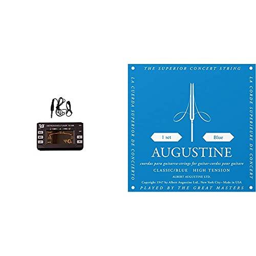 TGI Afinador Y Metrónomo + Augustine Cuerdas Para Guitarra Clásica, Azul, Tensión Alto