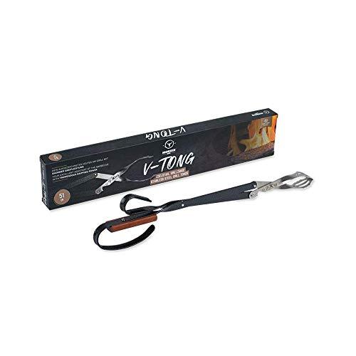 Moesta-BBQ 10503 Grillzange V-Tong 51 cm – Servierzange mit Holzgriff – Multifunktionale Fleischzange mit Flaschenöffner