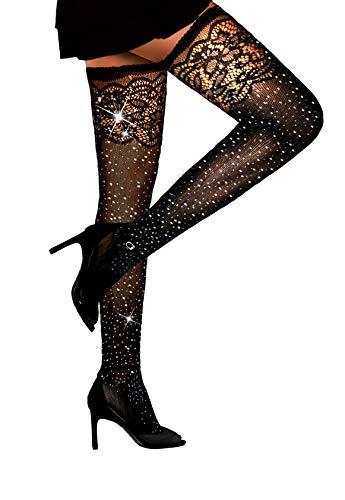 Women's Sparkle Rhinestone Fishnets Pantyhose Sexy Thigh High Mesh Stockings (Free Size, Black)