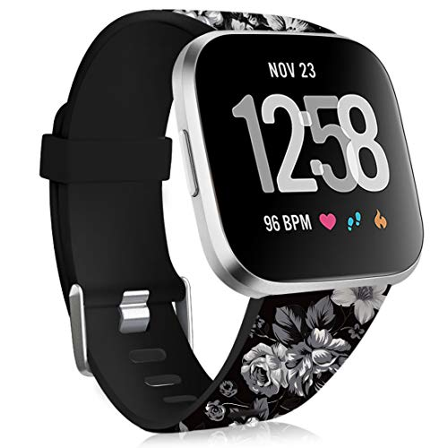 Maledan Compatible with Fitbit Versa 2 Bands for Women Men, Soft Silicone Pattern Band Water Resistant Printed Strap Replacement for Fitbit Versa Smart Watch, Grey Floral, Small