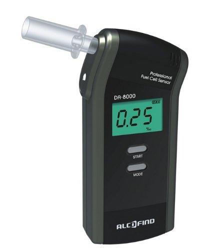 Alkoholtester Trendmedic Alcofind DA-8000 | mobiles digitales Atem-Alkoholmessgerät mit langzeitstabilen Fuel-Cell-Sensor bis 5.00‰ | polizeigenau