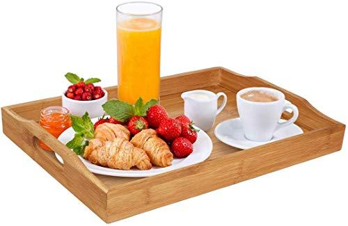 Bambus Serviertablett mit Griffen Serviertablett Ideen für Abendessen, Tee, Bar, Tisch, Frühstückstablett, gut für Partys oder Betttablett
