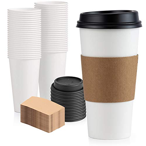 [50 Pack] 20 oz Hot Beverage Disposable White Paper Coffee Cup with Black Dome Lid and Kraft Sleeve Combo, Large Venti