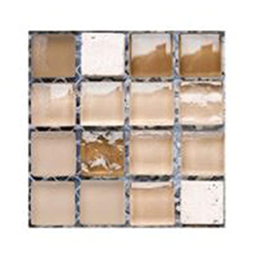 Pegatinas de Azulejos 3D Peel and Stick 10 Hojas de 4'x 4' (10 cm x 10 CM) Pegatinas de Azulejos de Piso Cocina y calcomanías de baño Forma de cuadrícula Moda y Estilo Simple Mosaico (Color : H)