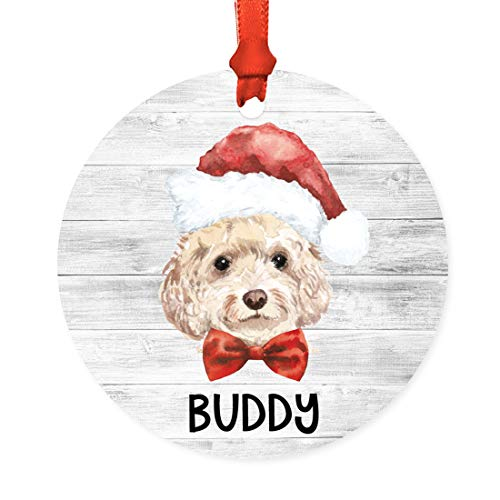Andaz Press Personalized Round Metal Christmas Tree Ornament Gift, Champagne Cockapoo, Santa Hat Dog Graphic, Custom Name, 1-Pack, for Dog Lovers, Pet Memorial Christmas Ideas
