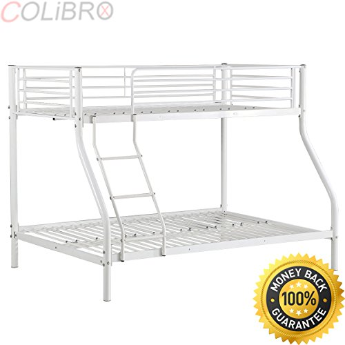 Colibrox Twin Over Full Metal Bed Frame Kids Teens Adult Dorm Bedroom Furniture White Twin Over