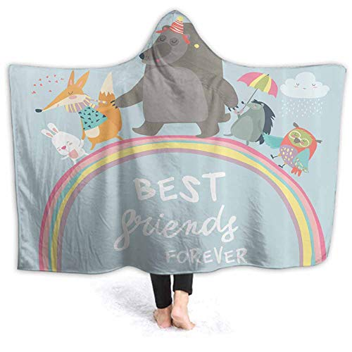 Wearable Blanket Best Animal Friends Comfy Soft Fleece Mink Micro Plush Wrap Throws Blanket Robe for Women and Men 60W by 50H Inches(with Hooded)