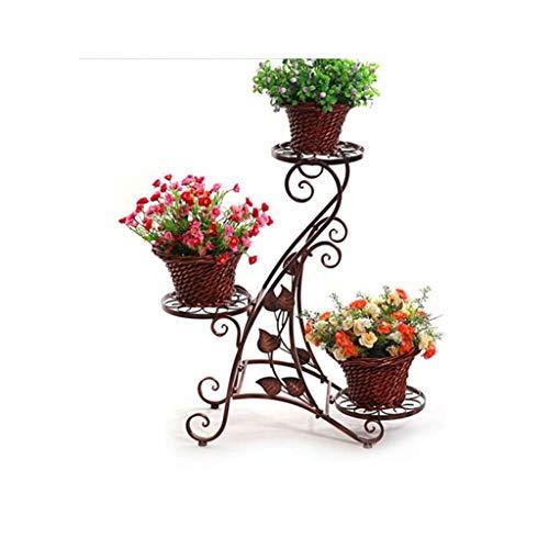 Rural Fer Art Stand De Fleurs En Plein Air Balcon Stand De Fleurs Salon Coin Stand De Fleurs Pliable Pot Pot De Fleur Bonsaï (Couleur : Copper color)