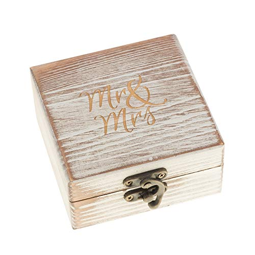 Ella Celebration Wood Ring Box for Wedding Ceremony Rustic Vintage Ring Bearer Box, Unique Engagement Ring Holder Boxes for Marriage, Mr & Mrs Decorative Boho Jewelry Favor Gift (Antique White)