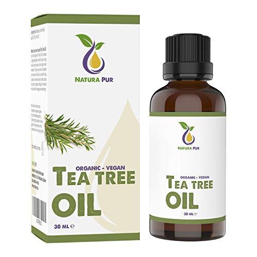 NATURA PUR Bio Teebaumöl 30ml - 100{257e4a0a277e9dce86ccffe7c16c5f0a82418682952745a0baf63b526a3895d4} naturreines ätherisches Öl aus Australien, vegan - zur Anwendung auf unreiner Haut, Hautentzündungen, Anti Pickel, Akne sowie Warzen und Pilzen - Diffuser Öl