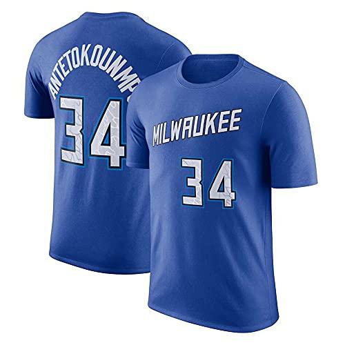 YZQ Camisetas para Hombre, Milwaukee Bucks # 34 Giannis Antetokounmpo NBA Verano Camisetas Deportes Y Chalecos De Ocio Tops De Manga Corta Camisetas De Baloncesto,Azul,XXL(180~190CM)