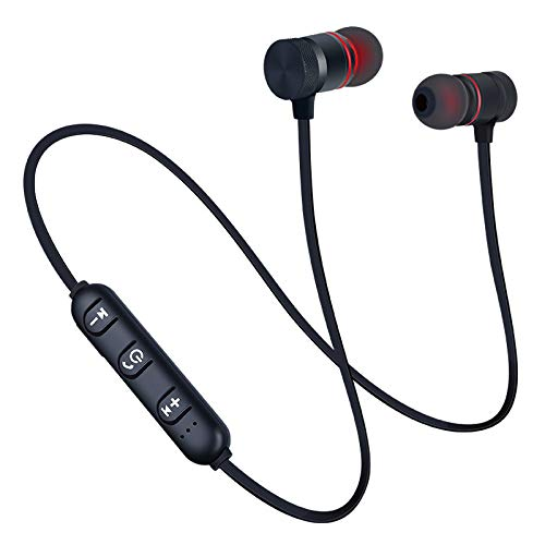 Bluetooth Earphones for LG Scarlet II TV Neckband Earphone Bluetooth 5.0 Wireless Headphones with Hi-Fi Stereo Sound, Good Playtime, Lightweight Ergonomic Neckband, Sweat-Resistant Magnetic Earbuds, Extra Deep Bass Hands-Free Call/Music, Sports Earbuds, Sweatproof, HD Immersive Audio, IPX5 Sweat and Water Resistanc, Voice Assistant & Mic - (Black)