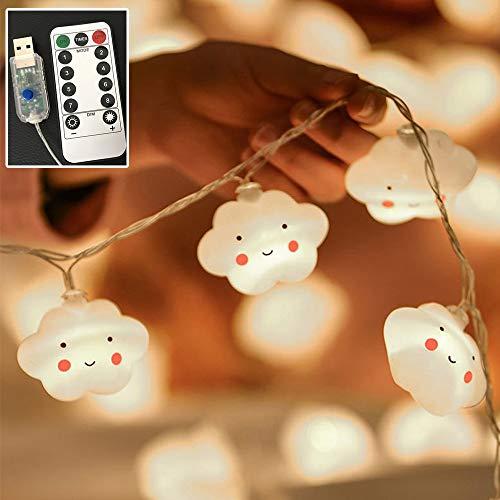 Flycoo2 Lichterketten, 3,5 m, 20 LEDs, Stimmungslicht, Wolkenmotiv, für Kinderzimmer, Party, Hochzeit, Weihnachten, Abend, Dekoration, 8 Modi (USB Fernbedienung)