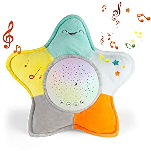 Sleep Soothers for Sleeping Baby, Portable White Noise Sound Machine & Night Light Projector, Baby Lullaby Stuffed Animal Toy, Sleep Aid for Newborns and Up (Starfish)