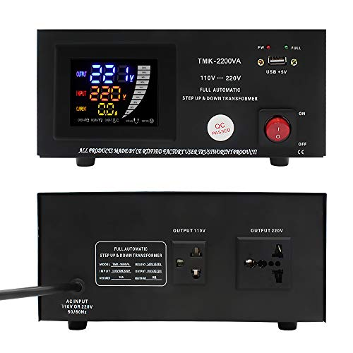 Yinleader 1600VA 110 Volt USA Spannungswandler Ringkern-Transformator Mit LED-Anzeige- In: 110V oder 220V (Automatische Identifikation) / Out: 110V und 220V