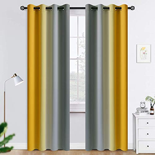 COSVIYA Grommet Ombre Room Darkening Curtains 84 inches Length for Living Room, Polyester Light Blocking Yellow and Grey Gradient Window Drapes/Curtains for Kids/Girls Bedroom,2 Panels, 52x84inches
