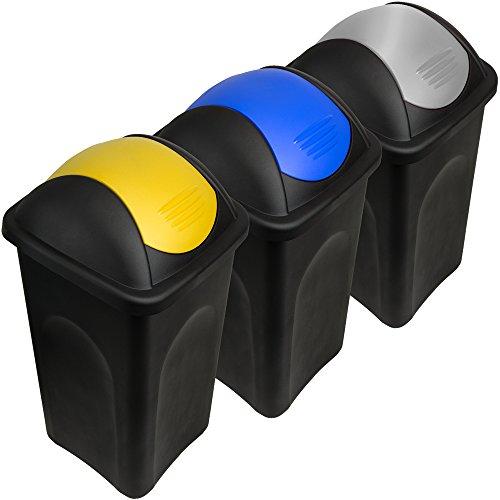 Stefanplast® 3X 60L Set Abfalleimer mit Schwingdeckel 68 x 41 x 41cm - Mülleimer Papierkorb Abfallbehälter Restmüll Müllbehälter Mülltrennung Mülltrennsystem Abfalltrennsystem