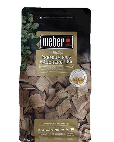 Weber 17782 Räucherchips Bitburger Premium Pils, 700g, für alle Fleisch-, Gemüse- und Käsesorten, süß-fruchtiger Geschmack, Räuchern, Aroma, Grillen