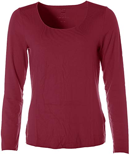 JETTE Damen Basic Langarm Shirt T-Shirt Rundhals Dunkelrot 44