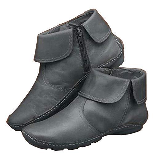 UMore Botines de Cuero Otoño Vintage con Cordones Zapatos de Mujer Botas cómodas de tacón Plano Cremallera Bota Alto Botas de Apoyo de Arco 2044 para Mujeres