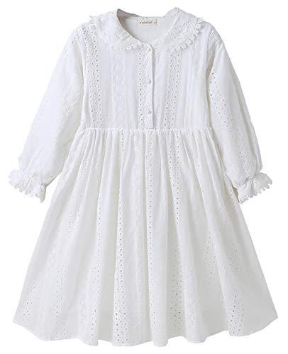 ZRFNFMA Niñas DressesBig Niños Blanco Muñeca Collar Princesa Vestido Niños Falda Algodón Verano Blanco Vestido Blanco-140cm
