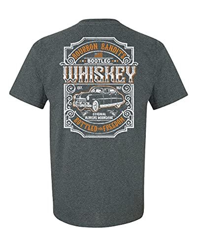 Camiseta unissex manga curta Bourbon Bandits Bootleg Whiskey Runners Moonshine Bottled with Freedom Funny Alcohol, Cinza mesclado, 5XG
