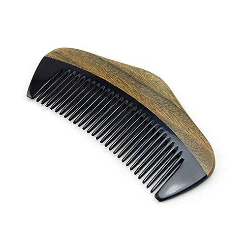 Timagebreze Horn und Holzkamm für Haare - Handgefertigte Naturholzk?Mme mit Antistatik- und No Snag-Effekt - Gl?Ttender Taschenkamm, Feiner Zahn, 4,25 Zoll