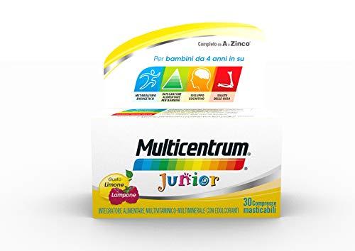 Multicentrum Junior Integratore Alimentare multivitaminico completo, Vitamine A-Z, gusto Limone e Lampone, Senza Glutine, Zuccheri e Coloranti, adatto per i Bambini da 4+, 30 compresse masticabili
